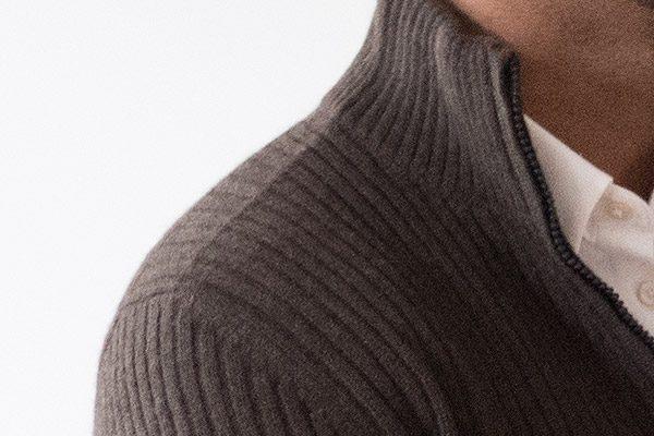 Herren-Pullover klassisch mit Dreiviertel-Reißverschluss – 100% mongolische Yakwolle